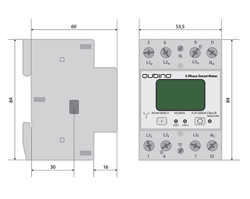 Qubino 3-Phase smart meter dimesions