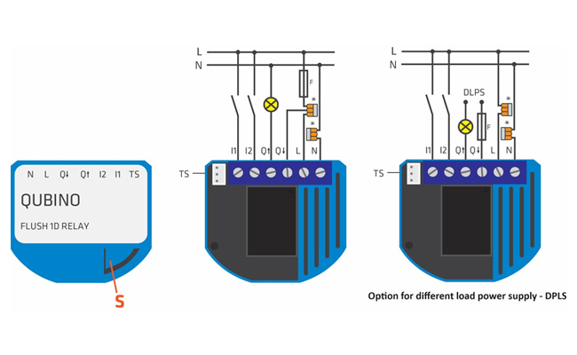 Qubino Flush 1D Relay diagram