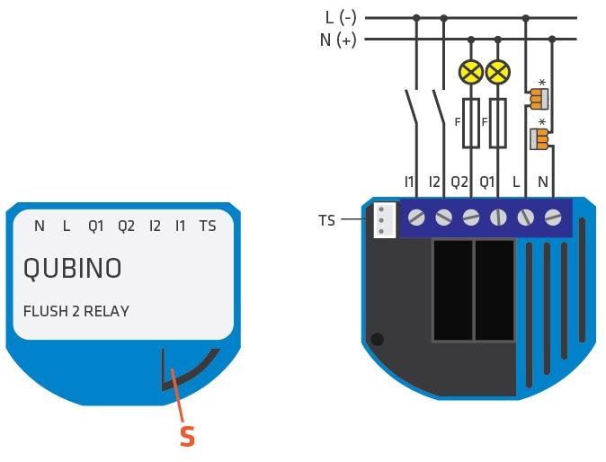 Qubino Flush 2 Relays diagram