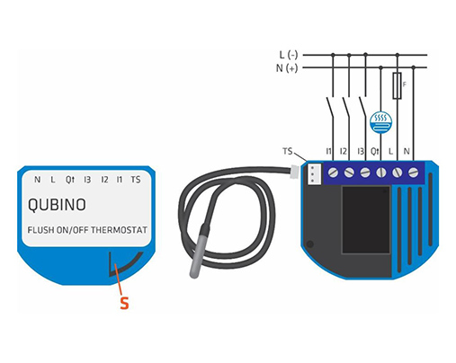 Qubino FLush on/off thermostat diagram
