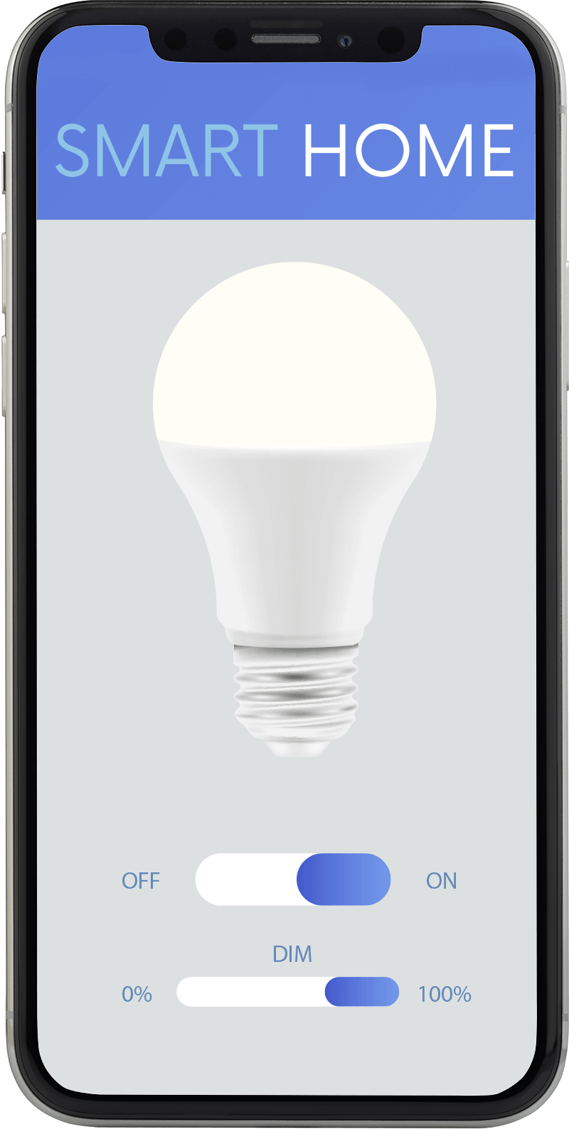 Smartphone shows how to control lights with Qubino Flush Dimmer 0-10V