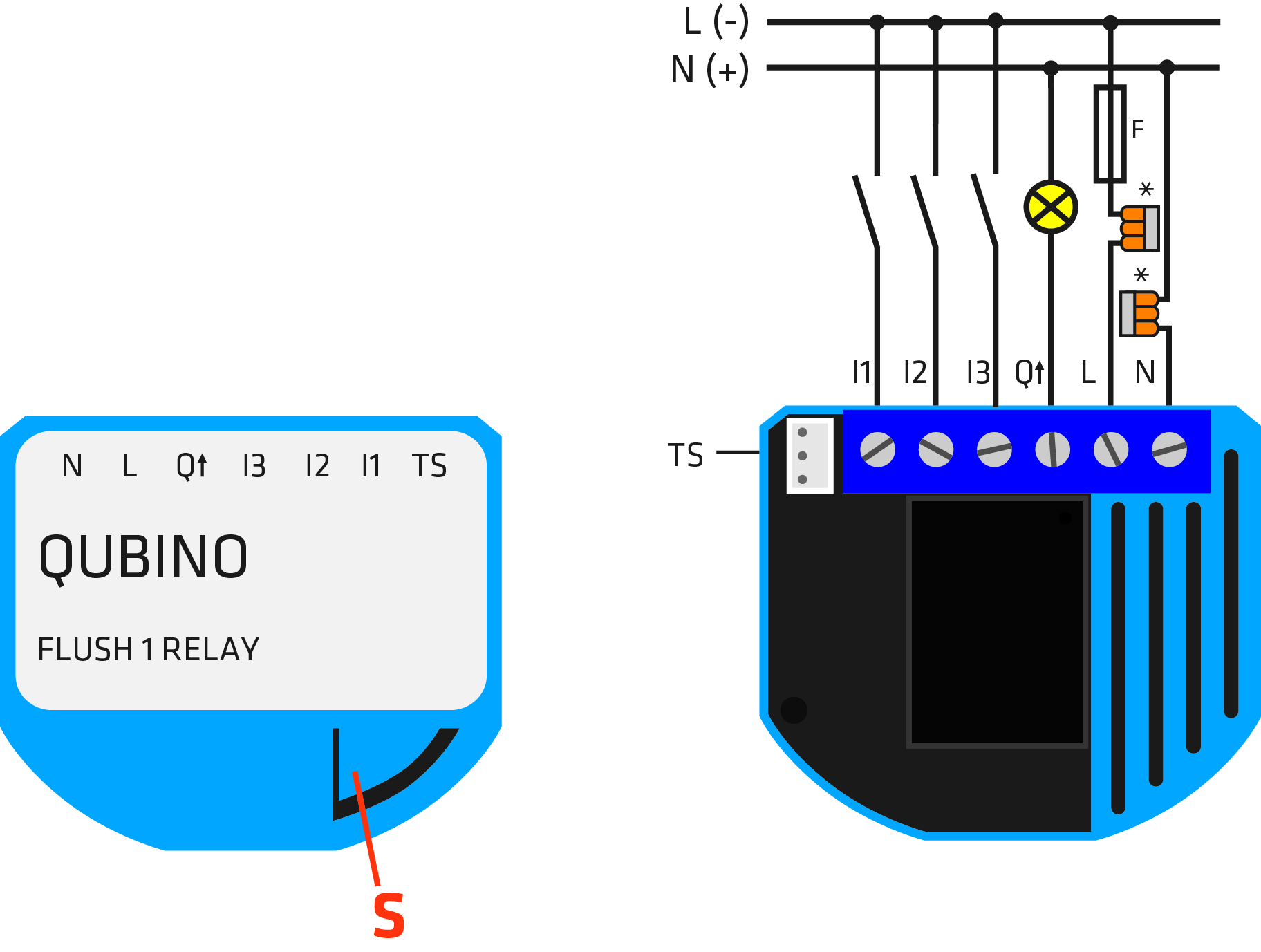 Z-Wave Flush 1 Relay electrical diagram