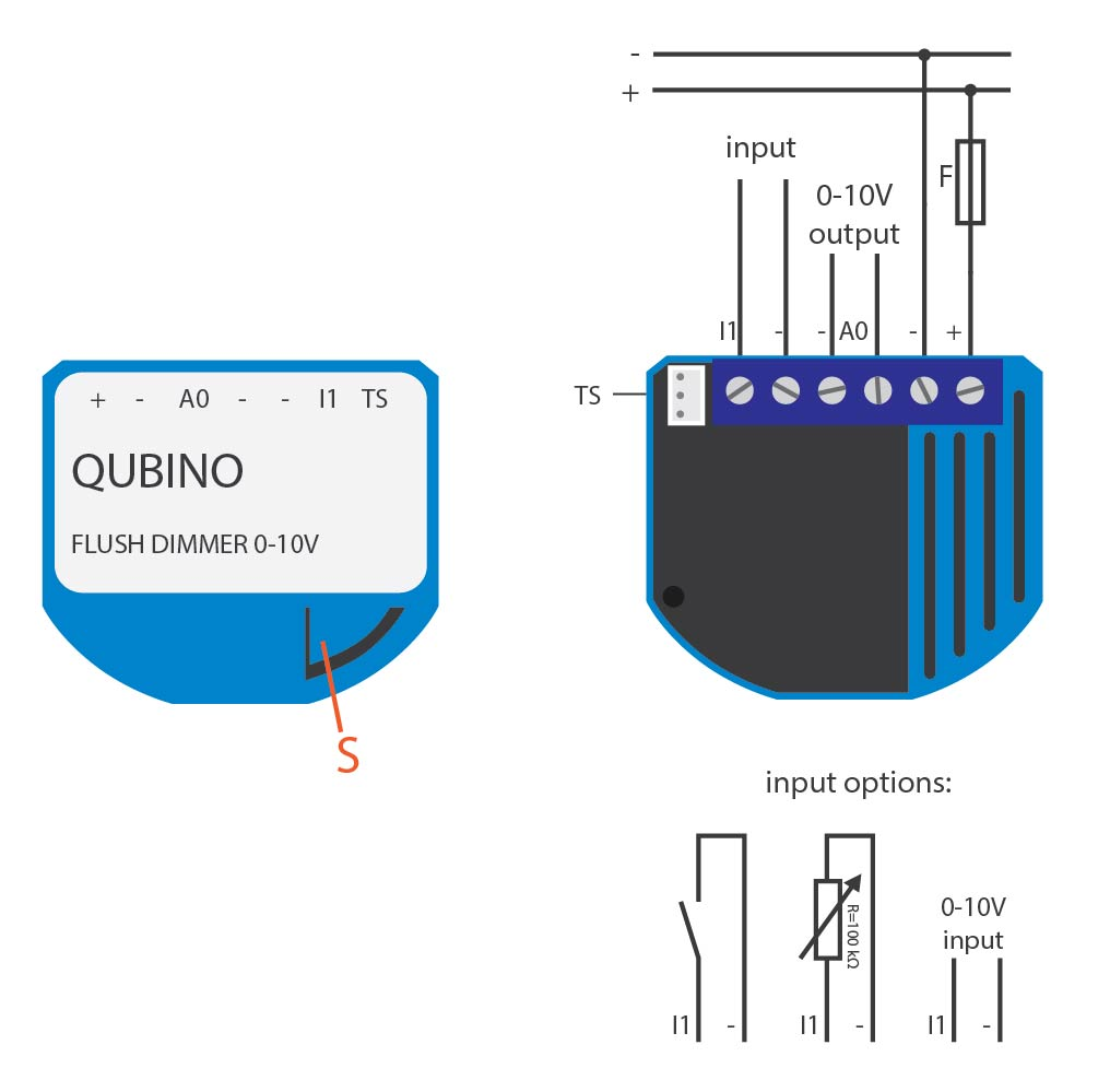 Electrical diagram Qubino Z-Wave Flush Dimmer 0-10V