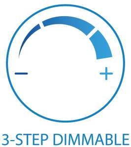 Dimmer icon. The picture is showing the icon for 3 step dimming. One side - other + and the arc between them. Between the start and the end of the arc are free two free spaces.