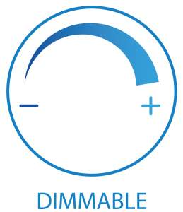 Dimmer icon. The picture is showing the icon for dimming. One side - other + and the arc between them.