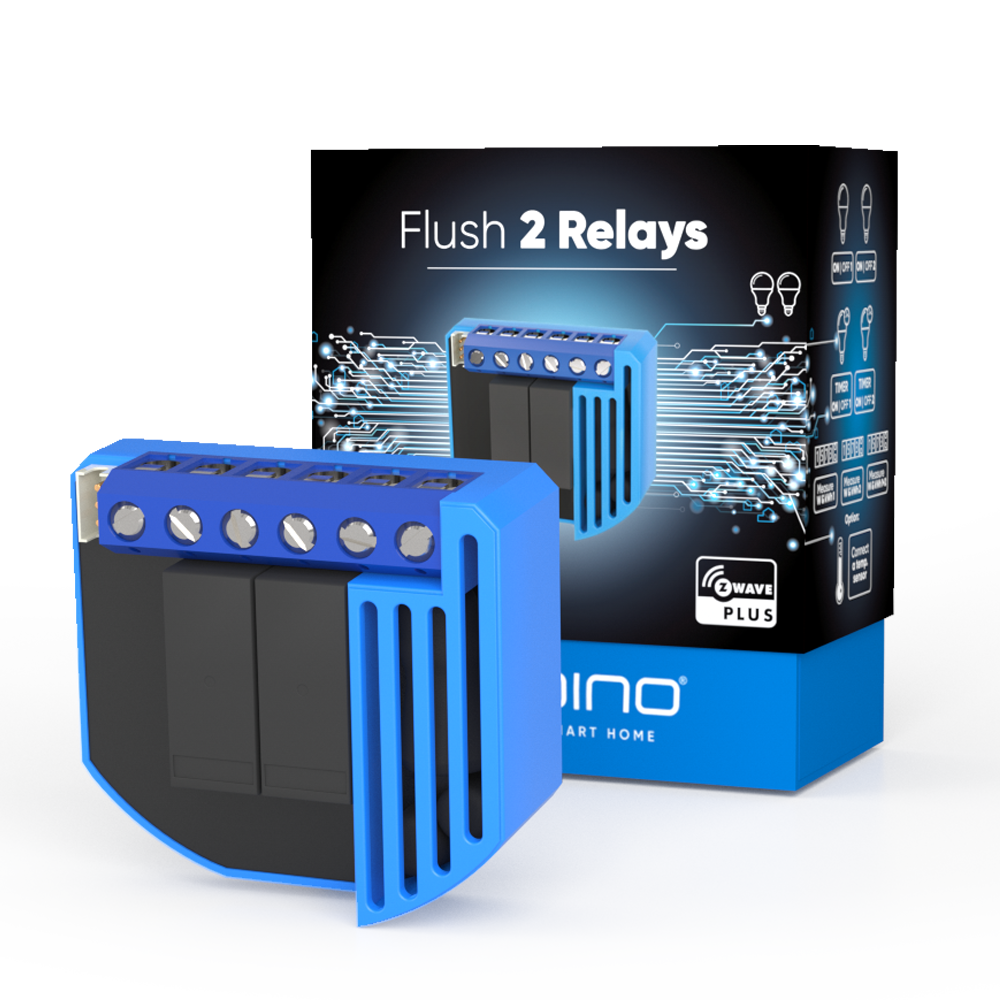 Flush 2 Relays Z-Wave Smart Home device with new packaging box