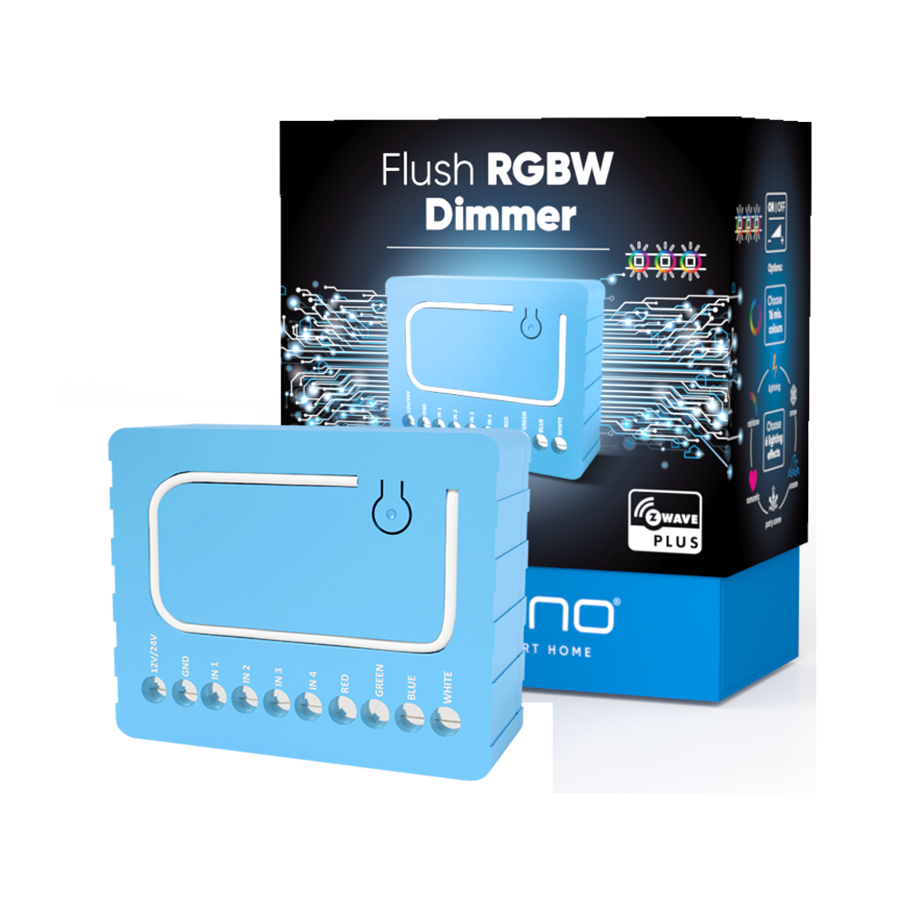 Flush RGBW Z-Wave Smart Home device with new packaging box