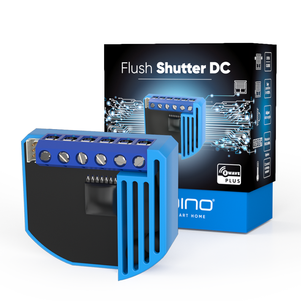 Flush Shutter DC Z-Wave device with new packaging box