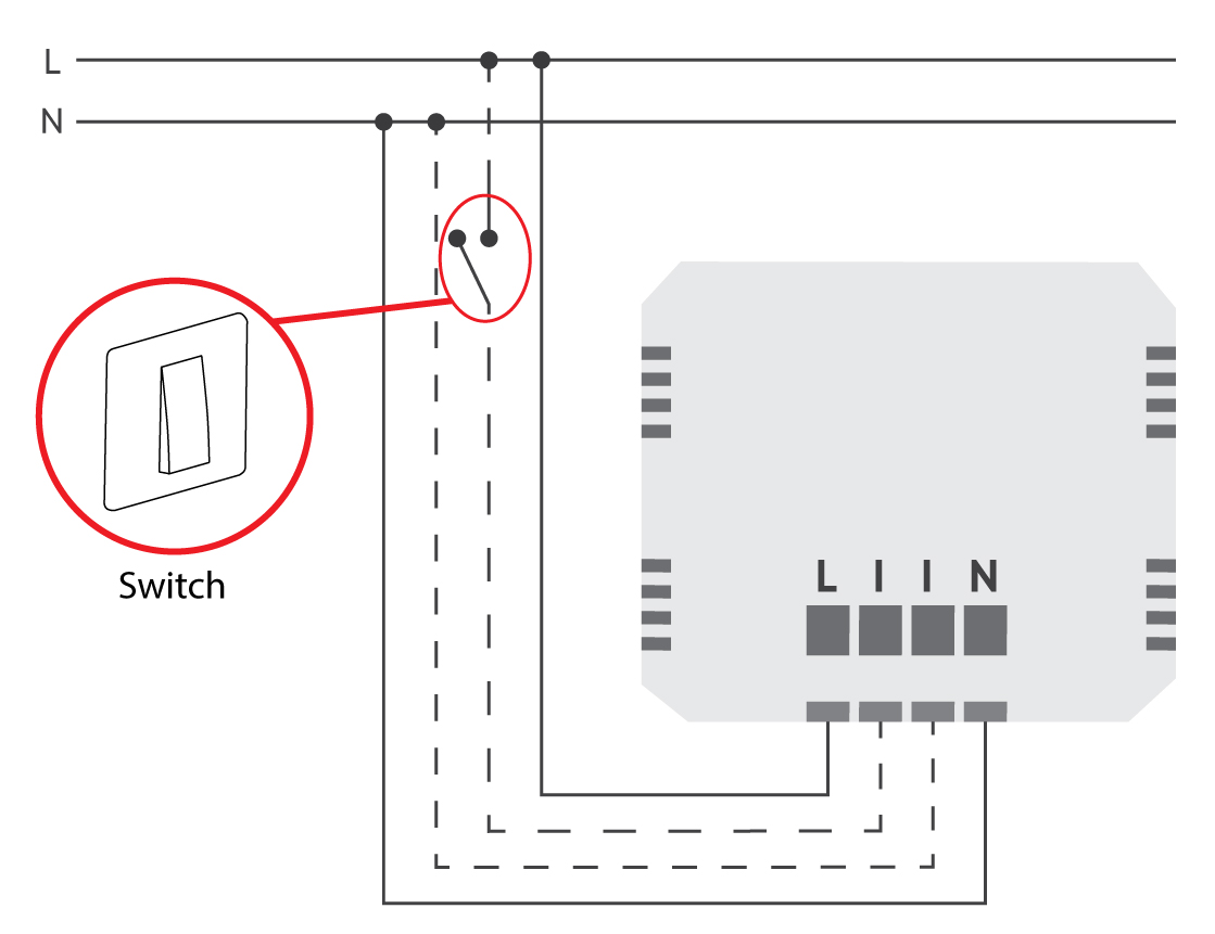 Luxy Smart Light electrical diagram. Example connected to a switch.