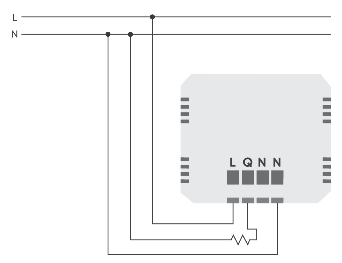Luxy Smart Switch Wiring diagram - Load connection example 1