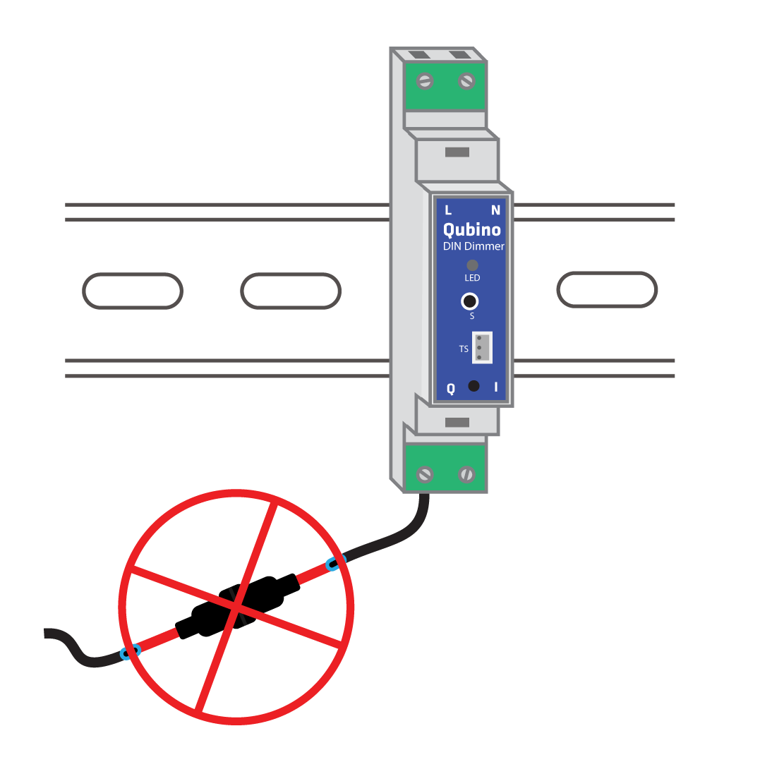 Qubino DIN Dimmer installation with integrated fuse